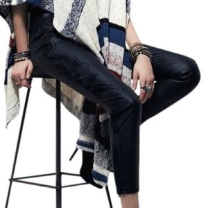 NEW Free People Embroidered Faux Leather Pants
